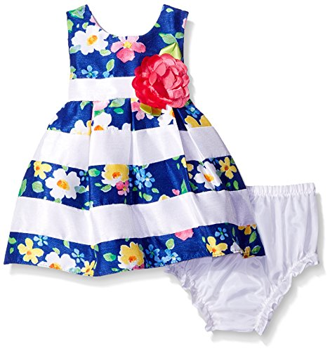 c05a93490d4 Sweet Heart Rose Baby Striped Floral Pleated Shantung Dress with Diaper  Cover
