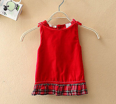 3416e889631 Baby Girls Kids Christmas Sleeveless Vest Wedding party dress 0-6months  000-00
